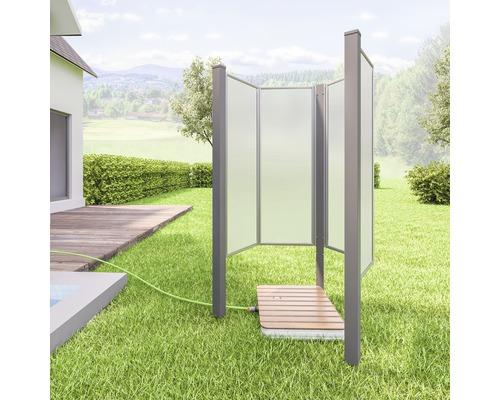 Douche de jardin Fara-O 85 x 100 cm type de verre satiné profilé de couleur gris