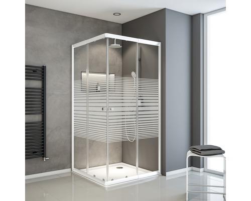 Douche accès d''angle avec porte coulissante Schulte Sunny 80x90 cm décor rayures transversales couleur profilé blanc alpin