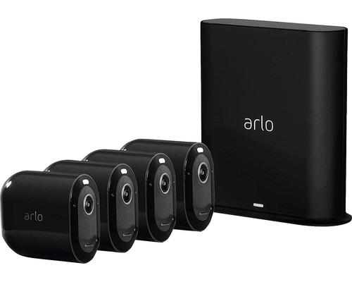 Caméras de surveillance et système d''alarme arlo Pro3 Smart Home noir sans fil 2K-HDR pour l''intérieur 4 pièces