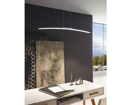 Suspension LED alu/acier 30W 2500 lm 3000 K blanc chaud hxL 1100x900 mm Lasana chrome/blanc