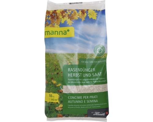 Engrais pour gazon automne et semences Hauert Manna engrais minéral à effet longue durée pour l''automne et le premier ensemencement de gazon 10 kg, 340 m²