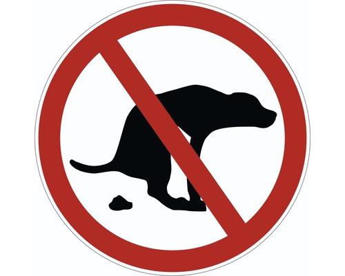 Panneau d''interdiction «Déjections de chiens interdites» Ø 95 mm