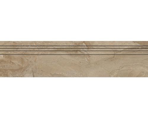 Marche d''escalier en grès cérame fin Sicilia Miele poli brun 29,5 cm x 120 cm