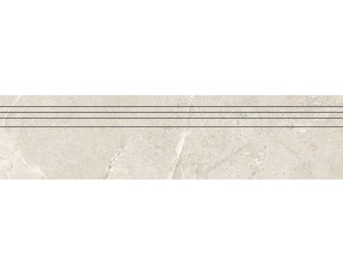Marche d''escalier en grès cérame fin Anden Bone beige mat 29,5x120 cm