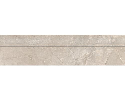 Marche d''escalier en grès cérame fin Anden Bone beige poli 29,5x120 cm