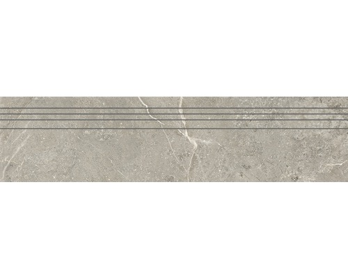 Marche d''escalier en grès cérame fin Anden Natural gris mat 29,5x120 cm