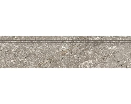 Marche d''escalier en grès cérame fin Anden Natural gris poli 29,5x120 cm