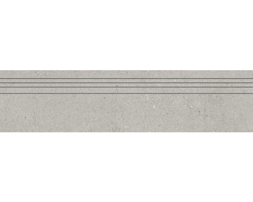 Marche d''escalier en grès cérame fin Structure Perla gris mat 29,5 cm x 120 cm