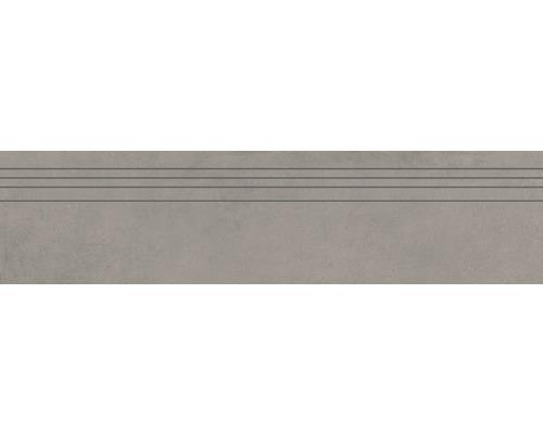 Marche d''escalier en grès cérame fin Structure Gris gris mat 29,5 cm x 120 cm