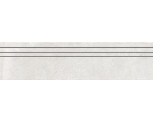 Marche d''escalier en grès cérame fin Greenwich perla gris mat 29,5 cm x 120 cm