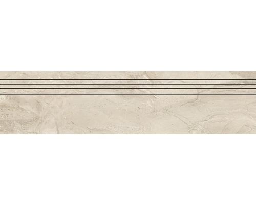 Marche d''escalier en grès cérame fin Sicilia Avorio poli beige 29,5 cm x 120 cm
