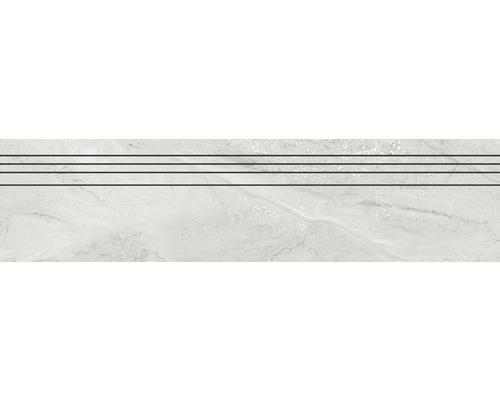 Marche d''escalier en grès cérame fin Sicilia Cenere poli gris 29,5 cm x 120 cm