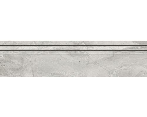 Marche d''escalier en grès cérame fin Sicilia Grigio poli gris 29,5 cm x 120 cm