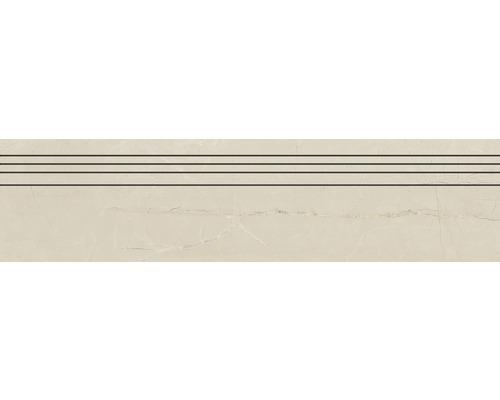 Marche d''escalier en grès cérame fin Living cream poli beige 29,5 cm x 120 cm
