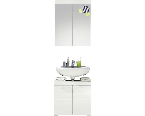 Badmöbel-Set Amanda 2-teilig 60 cm weiß hochglanz ohne Waschbecken und ohne Beleuchtung