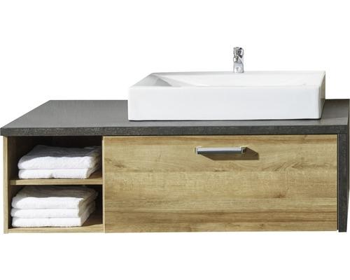 Ensemble de meubles de salle de bains Bay 123 cm avec vasque chêne Riviera