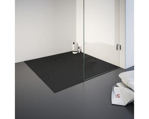 Receveur de douche fonte minérale pierre structurée Schulte Plan ExpressPlus 90x90x4 cm EP216090 57 anthracite avec bonde de vidage