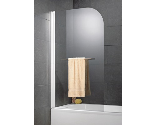 Pare-baignoire Schulte 1 pièce avec paroi latérale Verre véritable transparent blanc alpin avec porte-serviettes droite