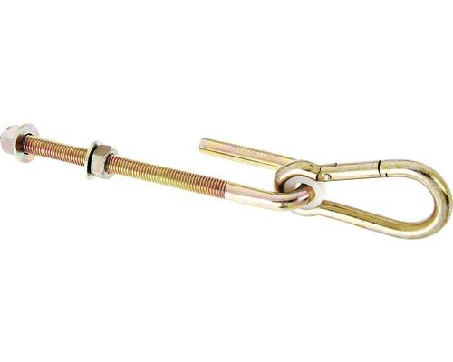 Crochets de balançoire M12 avec des mousquetons 10x100mm pour visser, jaunes en acier galvanisé