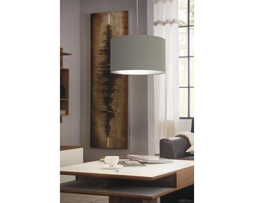 Suspension acier/textile 1 lumière hxØ 1100x380 mm Pasteri taupe/gris-0