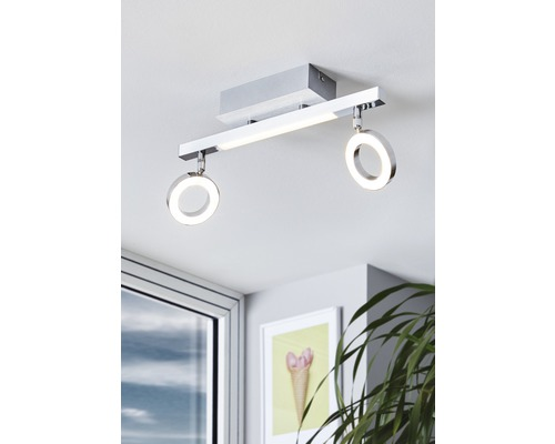 Spot de plafond LED 2x3,3W 2x400 lm 3000 K blanc chaud lxL 85x390 Cardillo alu/chrome/satiné