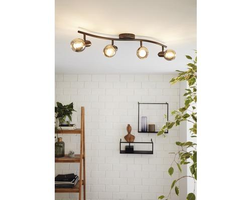 Spot de plafond acier/verre 4ampoules hxL 220x640 mm Pollica noir/transparent