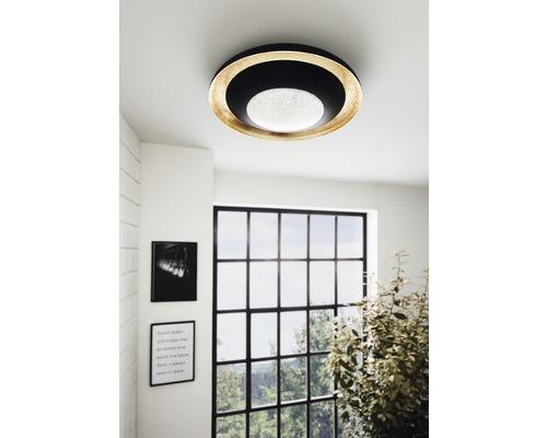 Plafonnier LED CCT à intensité lumineuse variable 24,5W 3000 lm blanc chaud-blanc lumière du jour hxØ 90x495 mm Canicosa noir/gold avec télécommande