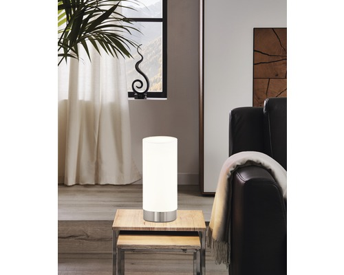 Lampe de table verre 1 ampoule hxØ 215x100 mm Damasco blanc/nickel-mat