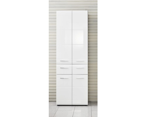 Armoire haute large Line 60 cm blanc / argent cendré