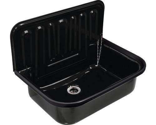 Bac d''évier en acier avec valve 49,5 noir