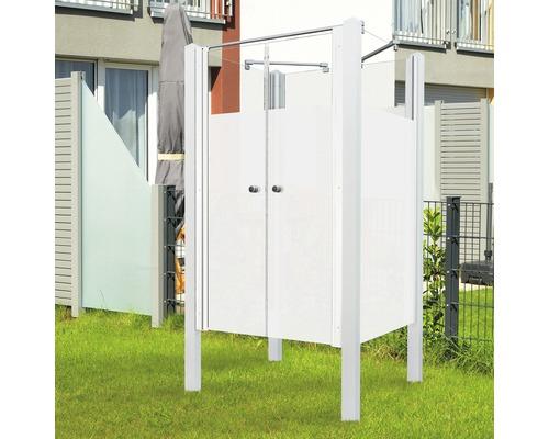 Douche de jardin Breuer Exo 3 côtés 95 x 200 cm avec porte battante Intima profilé blanc