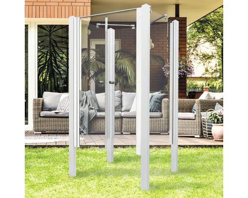 Douche de jardin Breuer Exo 3 côtés 95 x 200 cm avec porte battante verre transparent profilé blanc