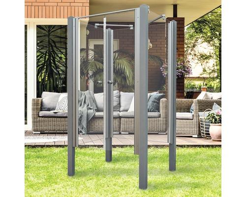 Douche de jardin Breuer Exo 3 côtés 95 x 200 cm avec porte battante verre transparent profilé gris
