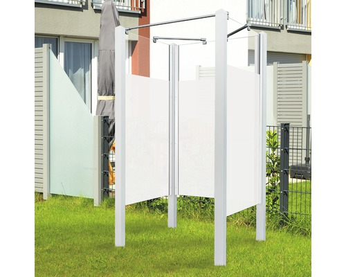 Douche de jardin Breuer Exo 3 côtés 95 x 200 cm Intima profilé blanc