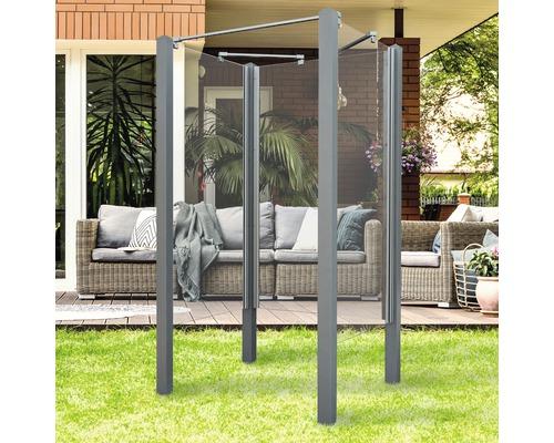 Douche de jardin Breuer Exo 3 côtés 95 x 200 cm verre transparent profilé gris