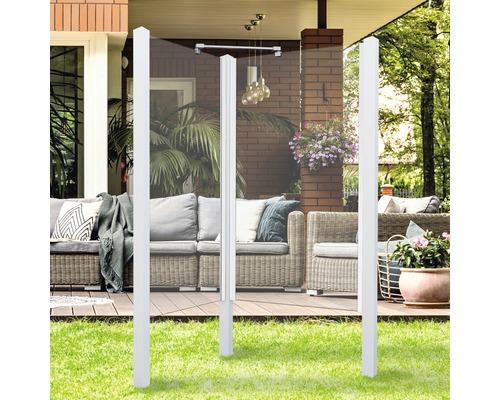 Douche de jardin Breuer Exo 2 côtés 95 x 200 cm verre transparent profilé blanc
