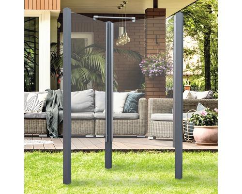 Douche de jardin Breuer Exo 2 côtés 95 x 200 cm verre transparent profilé gris