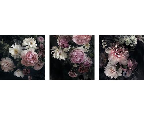 Tableau sur toile Magie des fleurs 3x 50x50 cm