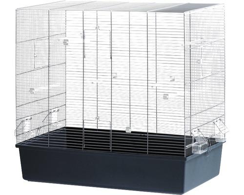 Cage à oiseaux ''rose'' avec perchoirs en bois et écuelles 80 x 45 x 75 cm bleu