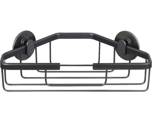 Panier de douche d''angle anthracite avec 2 fixations flexibles et technique de collage 3M