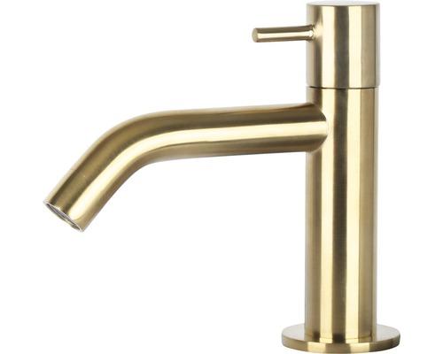 Robinet de lave-mains robinet d''eau froide coudé mat doré