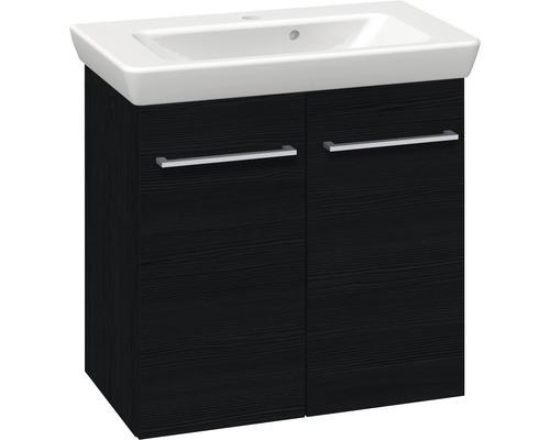 Ensemble de meubles de salle de bains Multo noir structure largeur 65 cm
