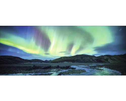 Tableau en verre northern lights 50x125cm