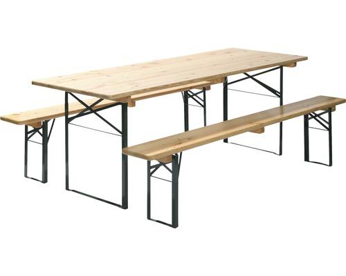 Table et bancs de brasserie en bois, largeur 70 cm, 3 pièces, vert et marron