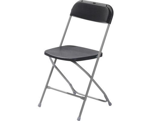 Chaise pliante VEBA Budget acier gris noir-0