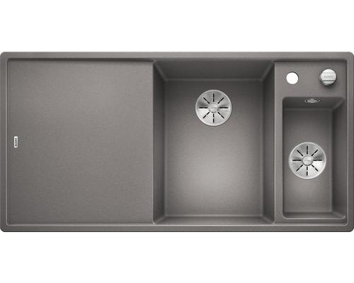 Évier BLANCO AXIA III 6 S alu métallisé bac à droite 423464 avec planche à découper en bois-0