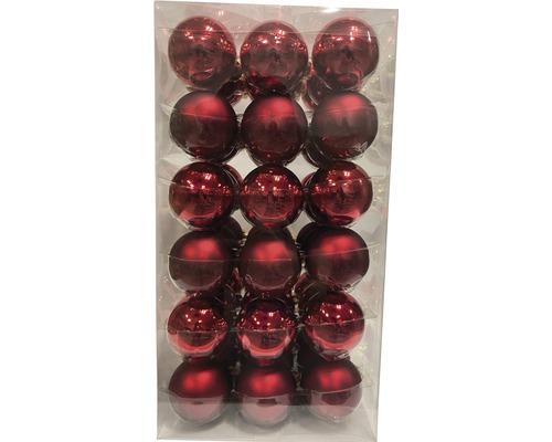 Boules de Noël Lafiora Ø6cm rouge 54 pces