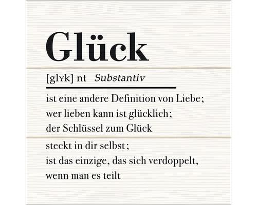 Panneau décoratif Glück en bois 30x30cm