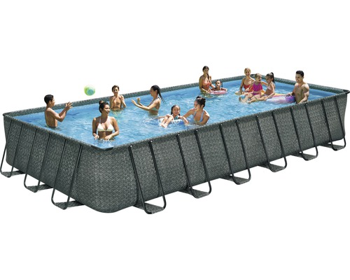 Kit de piscine tubulaire hors sol Elite rotin 7,32x3,66x1,32 m