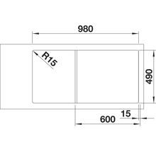 Évier BLANCO AXIA III 6 S alu métallisé bac à droite 423464 avec planche à découper en bois-thumb-4